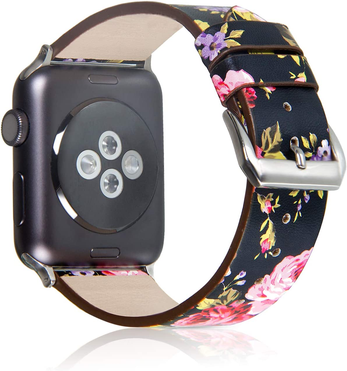 Pantheon Compatible with Apple Watch Band 38mm 40mm for Women - Floral Leather Compatible iWatch Bands / Strap for Series SE 6 5 4 3 2 1