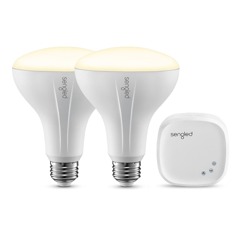 Sengled Element BR30 Smart Bulb Starter Kit (2 Bulbs + Hub) - 60W Equivalent Soft White (2700K) Smart Flood Light Bulbs (Compatible with Amazon Alexa, Google Assistant, Samsung SmartThings and Wink)