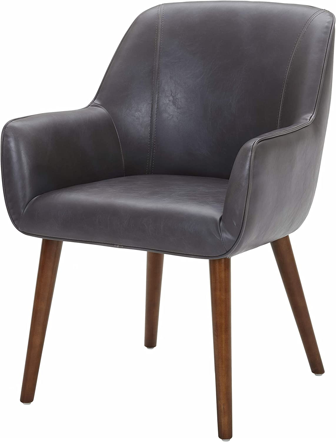 Amazon Brand – Rivet Julie Mid-Century Modern Faux Leather Slope Accent Kitchen Dining Room Chair, 34