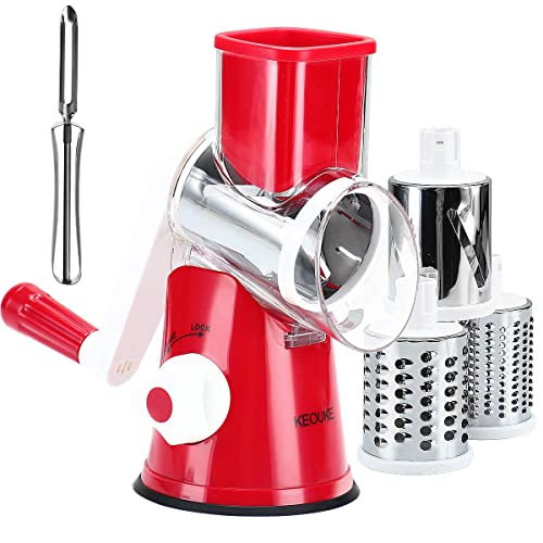 Keouke Rotary Cheese Grater Handheld - Nut Chopper Grinder Salad Shooter