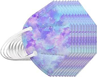 RUITOTP 10/25/50/100 Unidades Unisex Niños Desechables Infantil de Filtro de Elásticos Bufanda Moda Universal 5 Capa Elástico Earloop Neckerchief Chal Bandanas para 2-10 años-Tie-Dye Azul