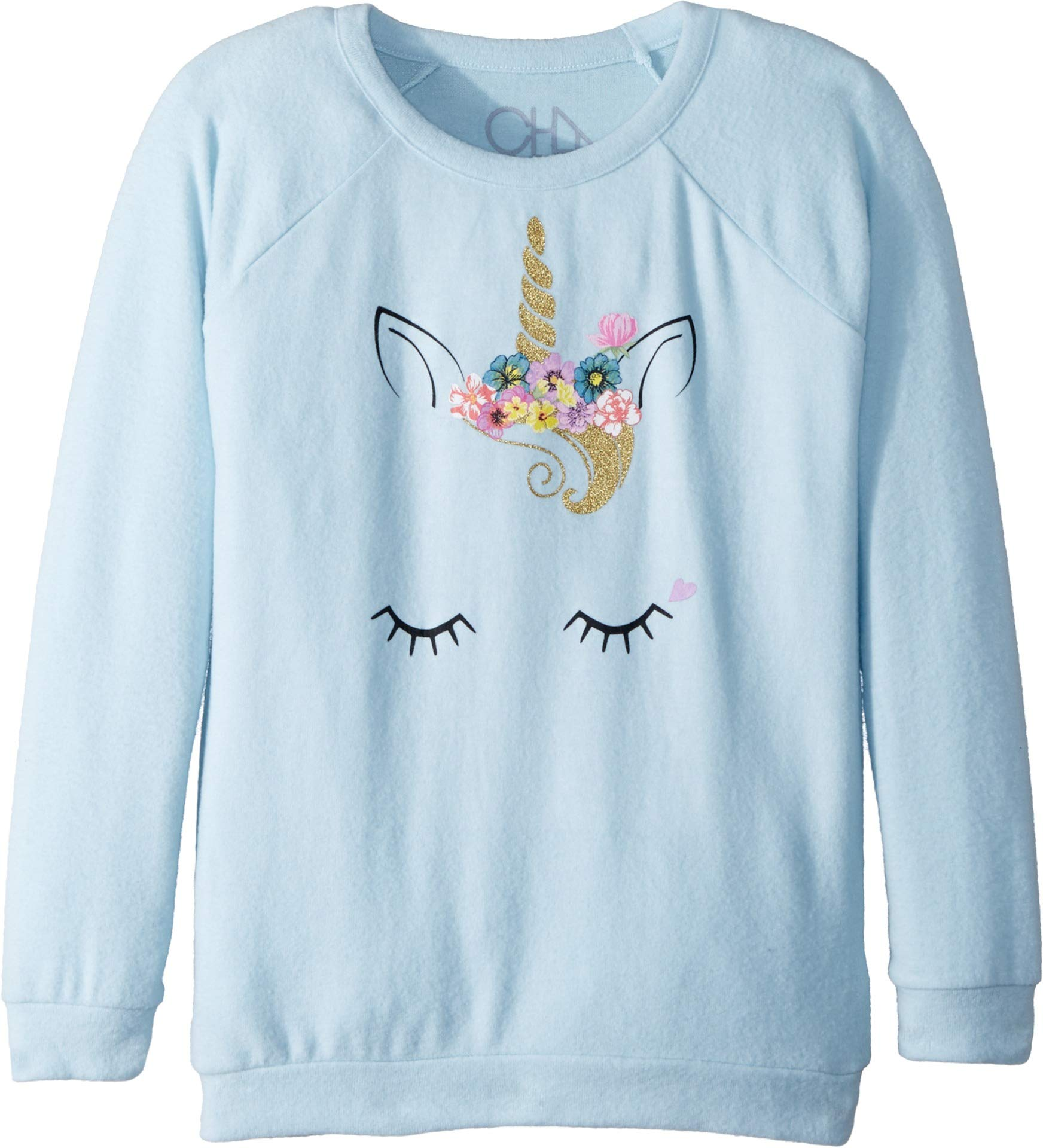 Chaser Kids Girl's Extra Soft Love Knit Flower Crown Unicorn Pullover (Little Kids/Big Kids) Waterfall 14