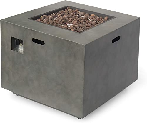GDF Studio Florence Outdoor 33-Inch Square Fire Pit, Concrete