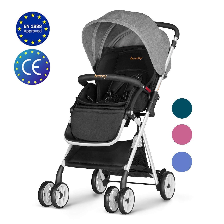 9cd8a896956 Besrey Baby Stroller Folding Pushchair Lightweight Infant Travel Buggy -  Grey: Amazon.co.uk: Baby