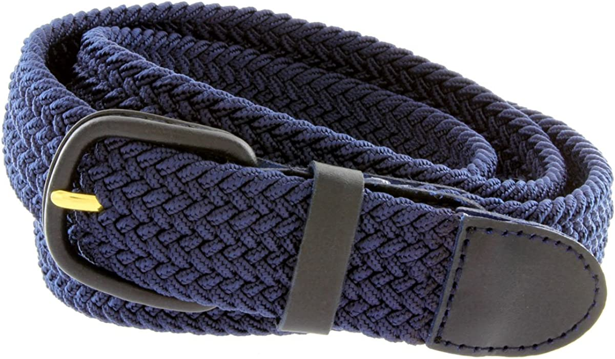 """7001 Men/'s Leather Covered Buckle Woven Elastic Stretch Belt 1-1//4/"""" Wide"""