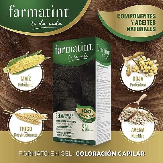 Farmatint 2N Moreno. Tinte permanente. Cabello natural y color duradero. Sin amoníaco ni parabenes ni parafinas ni siliconas.