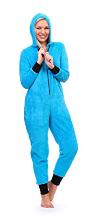Totally Pink Women's Warm and Cozy Neon Onesie Pajama (Small, Neon Blue)