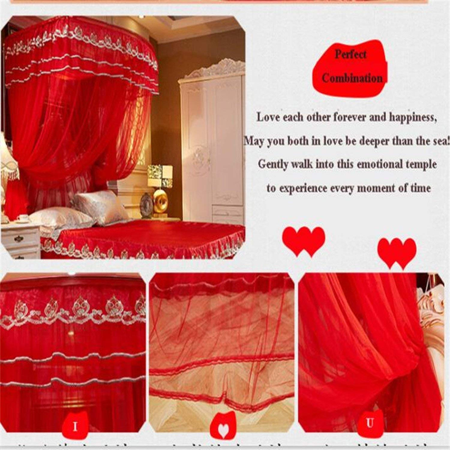Fishing Rod Retractable Three Door Palace Mosquito Net Floor Standing Anti Mosquito Wedding Nets,Wedding Red Color,1.8Mwx2Mlx2.1Mh by special shine-shop mosquito net (Image #2)
