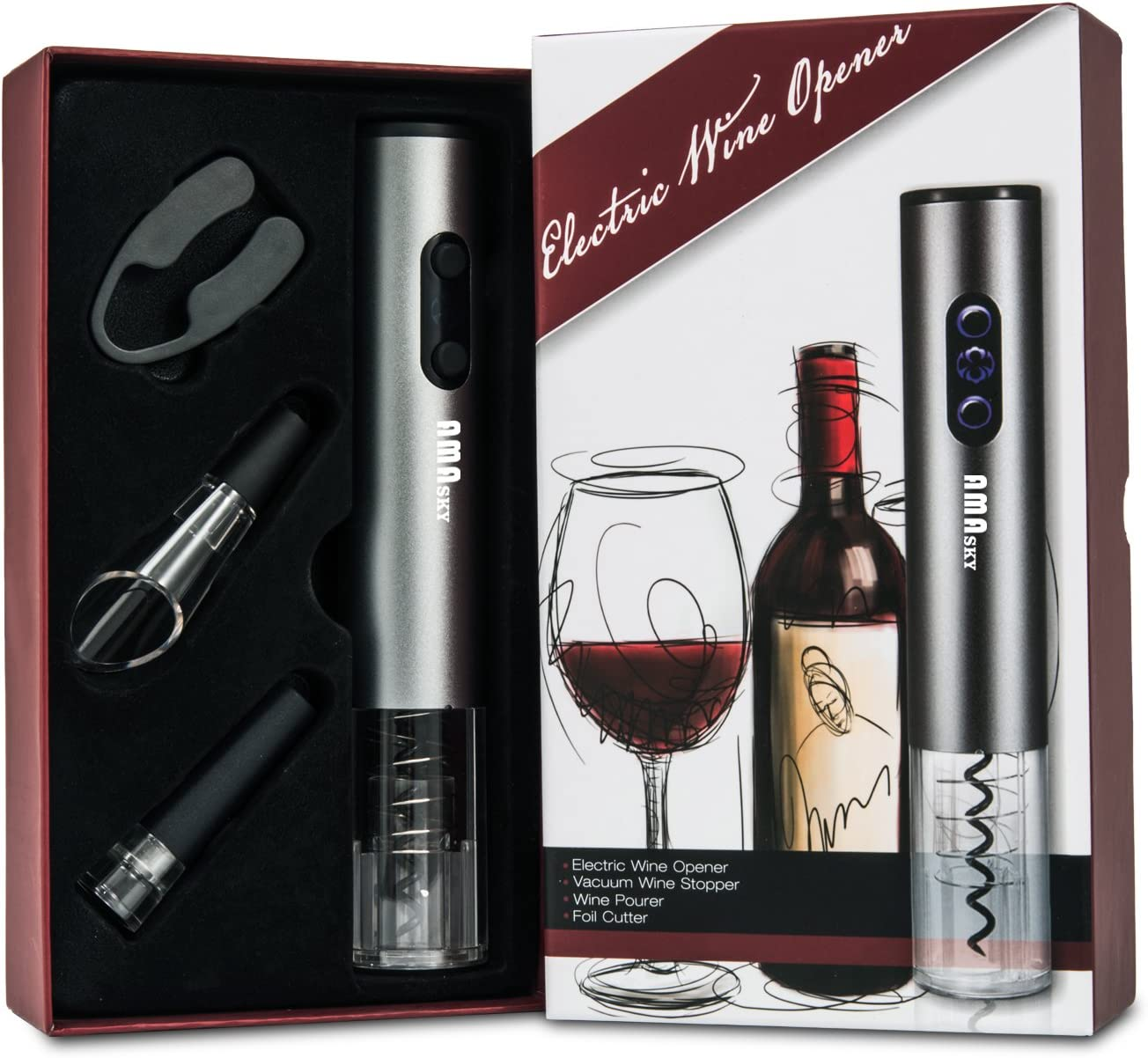 AMASKY Electric Wine Opener Set, Automatic Stainless Steel Wine Opener, Foil Cutter, Vacuum stopper, Aerator Wine Pourer