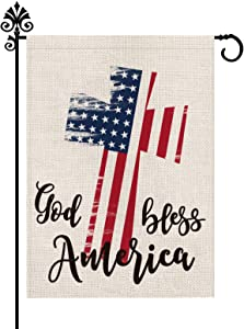 Fourth of July Day Garden Flag Cross God Bless America USA Flag Burlap Vertical Double Sided Patriotic Peace Outdoor Decoration 12.5 x 18 Inch