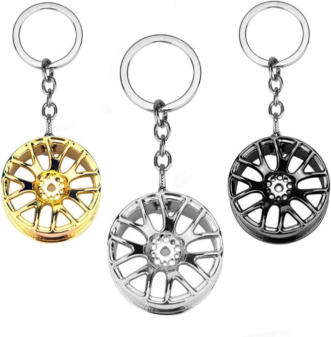 Gun Black Auto Tire Key Chain Key Ring Auto Wheel Rim Keychain Keyfob Car  Accessories Interior Accessories drsuneettayal Automotive