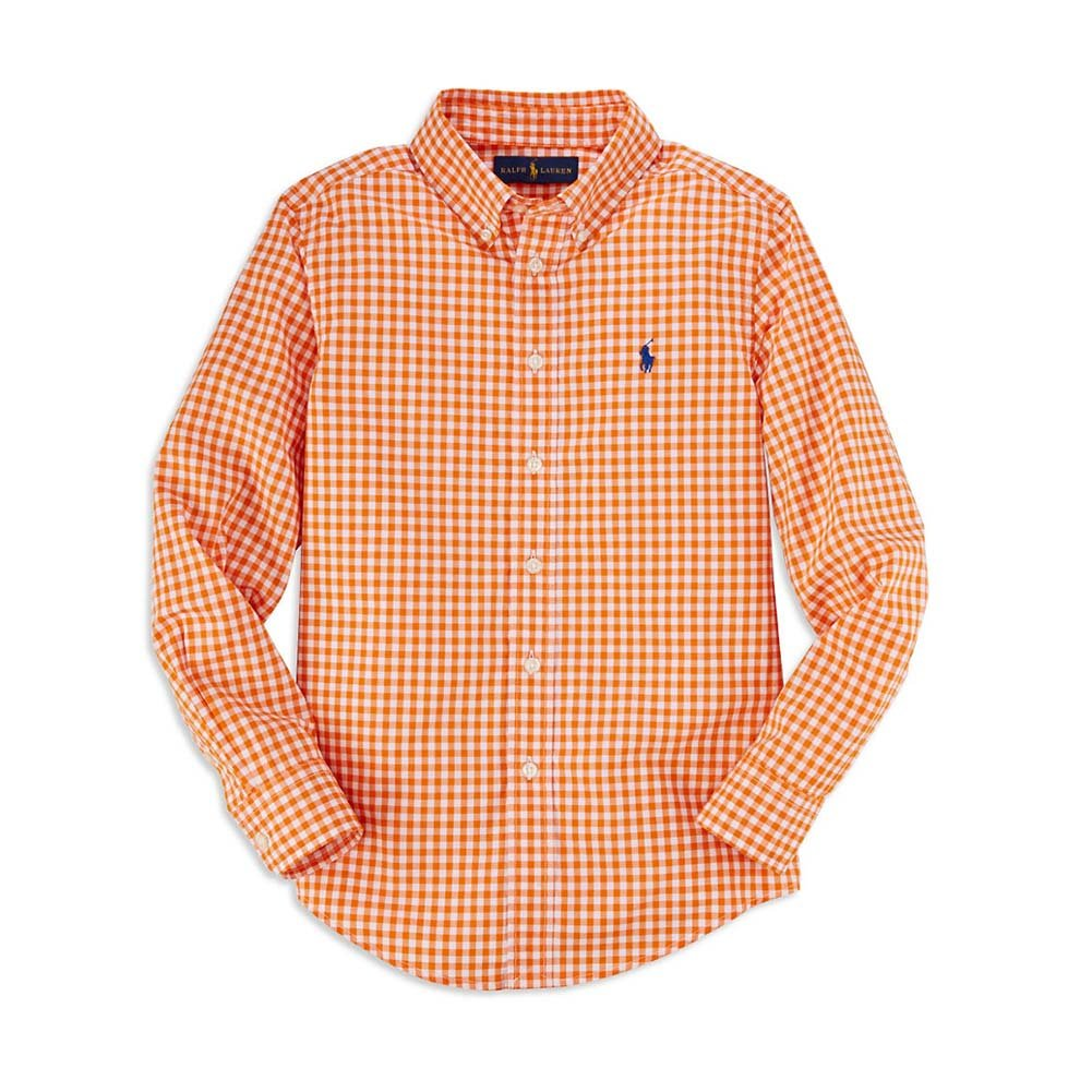 Ralph Lauren Boys' Plaid Button-Down Shirt (2/2T, Orange)