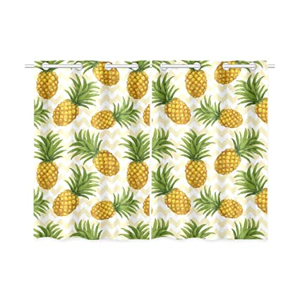 Charmant InterestPrint Tropical Theme Home U0026 Kitchen Decor, Pineapple Window  Treatment Panel Curtains,Set Of