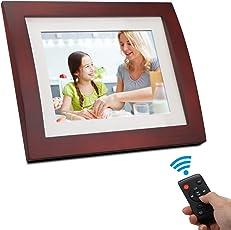 Digital Photo Frame 8 Inch - 4:3 Digital Picture Frame Calendar Clock Function Wooden Digital Frame Bsimb SW02 (Brown)