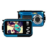 KINGEAR Double Screens Waterproof Digital Camera 2.7-Inch Front LCD with 2.7inch Camera -Blue