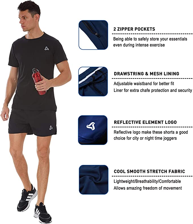 SILKWORLD Mens Running Stretch Quick Dry Shorts with Zipper Pockets Pack of 2,3