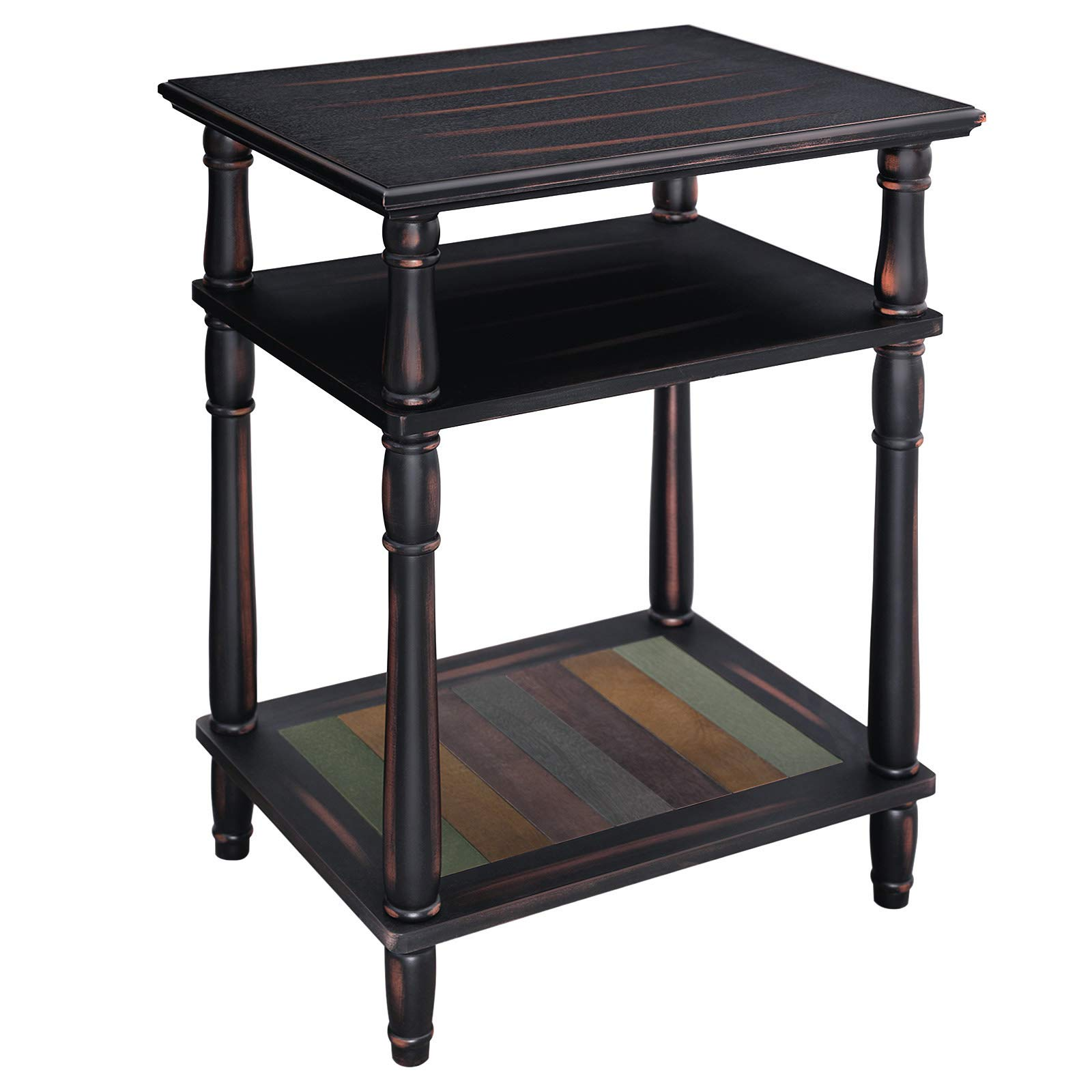 VASAGLE End Table, 3-Tier Telephone Table with Colorful Storage Shelf, Solid Wood Legs, No Tools Required, Sofa Side Table for Living Room, Hallway, Country Brown ULET21GL by VASAGLE