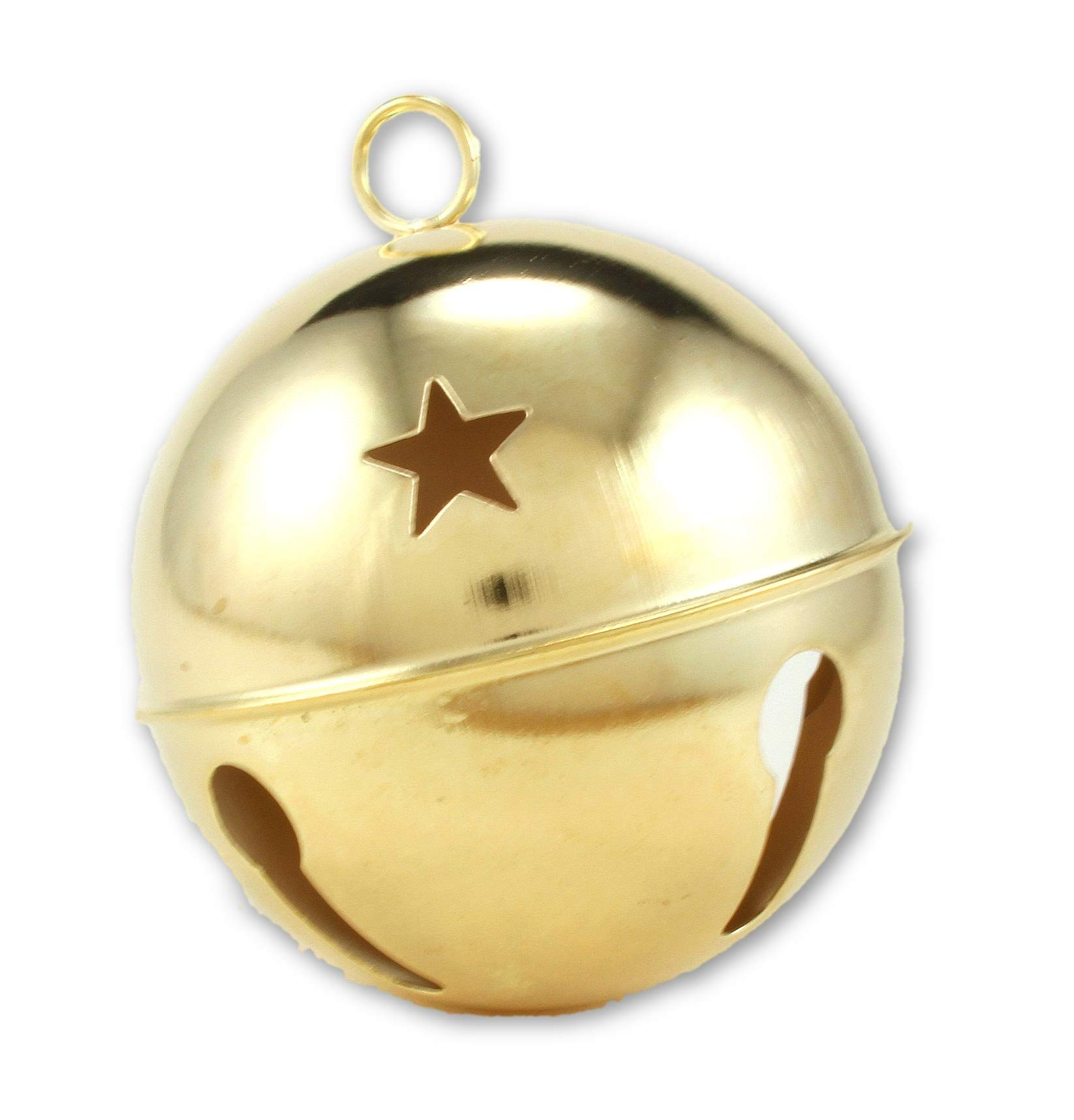 3.15 Inch 80mm Giant Jumbo Large Gold Jingle Bell with Stars Bulk 12 Pieces