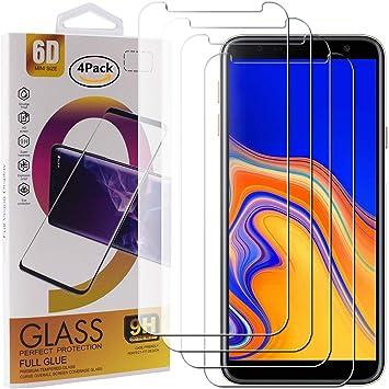 Guran 4 Paquete Cristal Templado Protector de Pantalla para Samsung Galaxy J4 Plus / J4+ 2018 Smartphone 9H Dureza Anti-Ara?azos Alta Definicion Transparente Película: Amazon.es: Electrónica