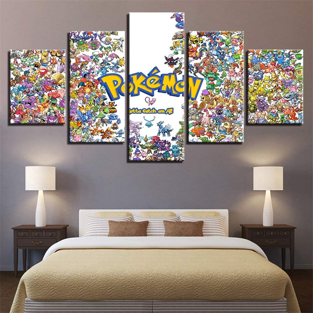 Whian 5 Pcs/Set Cartoon Anime Canvas Painting Mural Art Prints Posters Decor Bedroom Home Decorations Pokemon 100/80/60x40CM Frameless