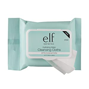e.l.f. Hydrating Water Cleansing Cloths, Makeup Remover, 20 Pack