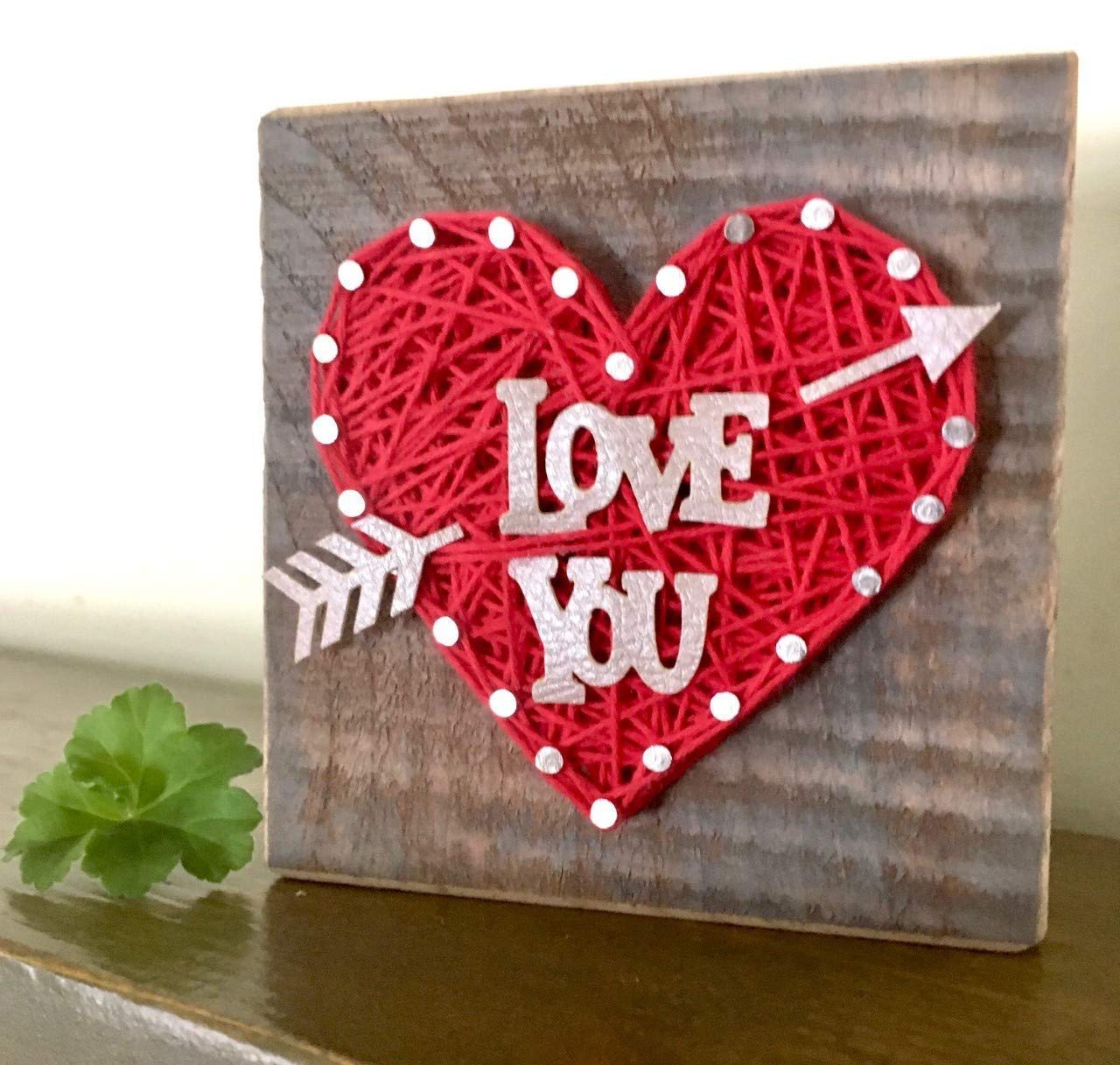 Sweet small Love you heart string art block sign. Heart gift. Perfect for Valentine s Day, Birthdays, Anniversaries or just because gifts. Made in the USA by Nail it Art
