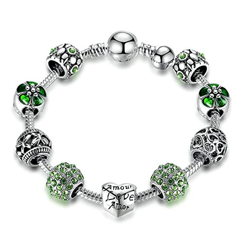 bbef92836 YOUFENG Love Beads Charms Bracelet for Girls and Women Murano Glass Beads  Rose Flower Charms Amethyst
