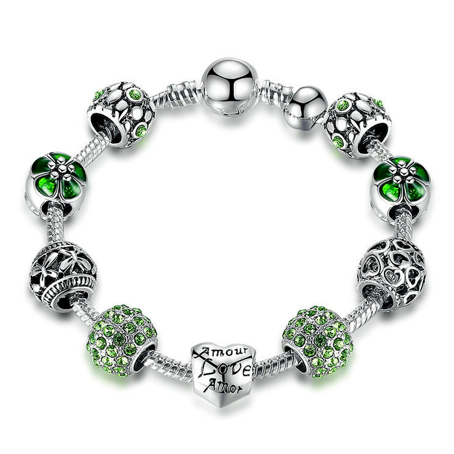 YOUFENG Love Beads Charms Bracelet for Girls and Women Murano Glass Beads Rose Flower Charms Amethyst Bracelets (Amor green CZ bracelet)