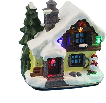 White Snow 4 Inch Christmas House Village With Led Lights Battery Operated