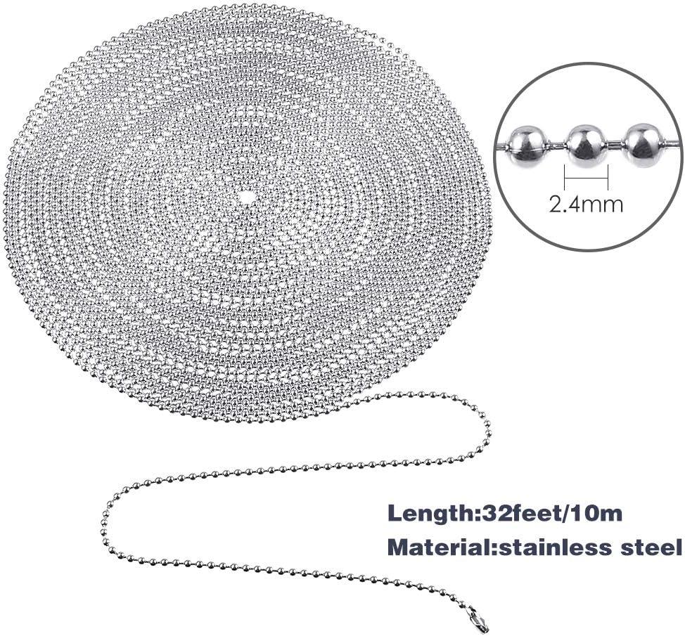 PP OPOUNT 2,4 mm Edelstahl Kugelkette Kugelkette Kugelkette Kugelkette Perlen verstellbar Metall Zugkette Verl/ängerung Perlenkette mit passendem Stecker und 1 St/ück Schmuckzange