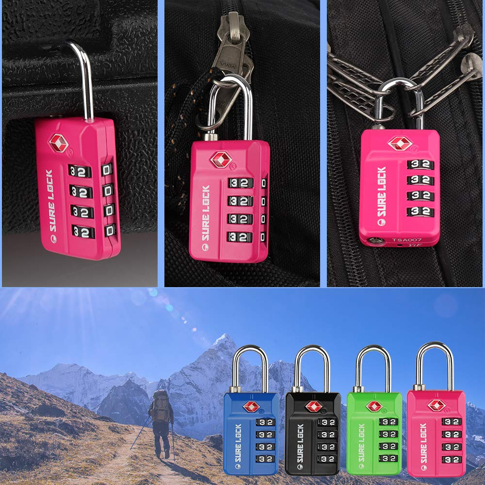 SURE LOCK TSA 4 Digit Compatible Travel Luggage Locks, Inspection Indicator, Easy Read Dials- 1, 2 & 4 Pack by SURE LOCK (Image #2)