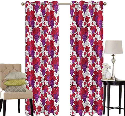 hengshu Vineyard Grommet Curtains for Bedroom Vibrant Grapes and Leaves for Backdrop Curtain W120 x L96 Inch