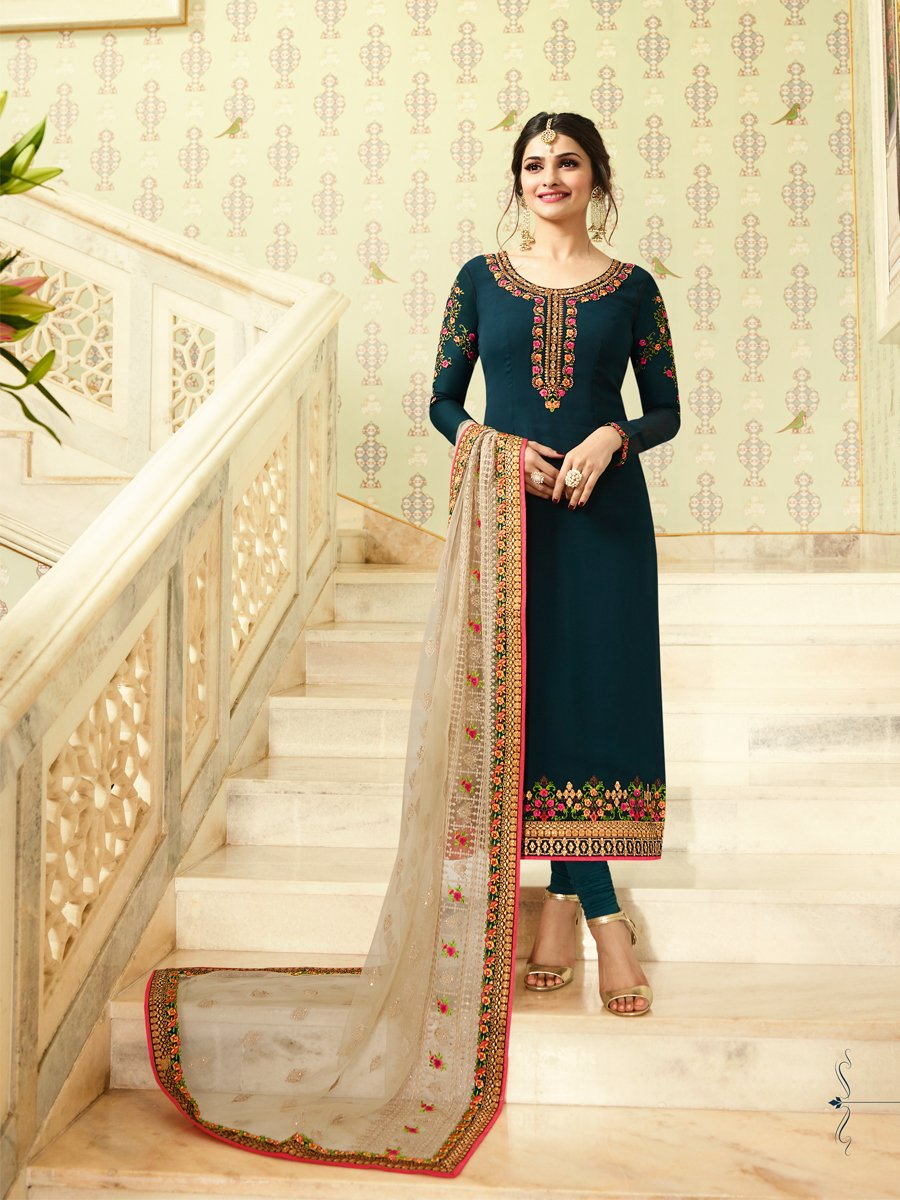 Ready Made New Designer Indian/Pakistani Fashion Salwar Kameez For Women (Dark Blue, XX LARGE-46) by Delisa (Image #2)