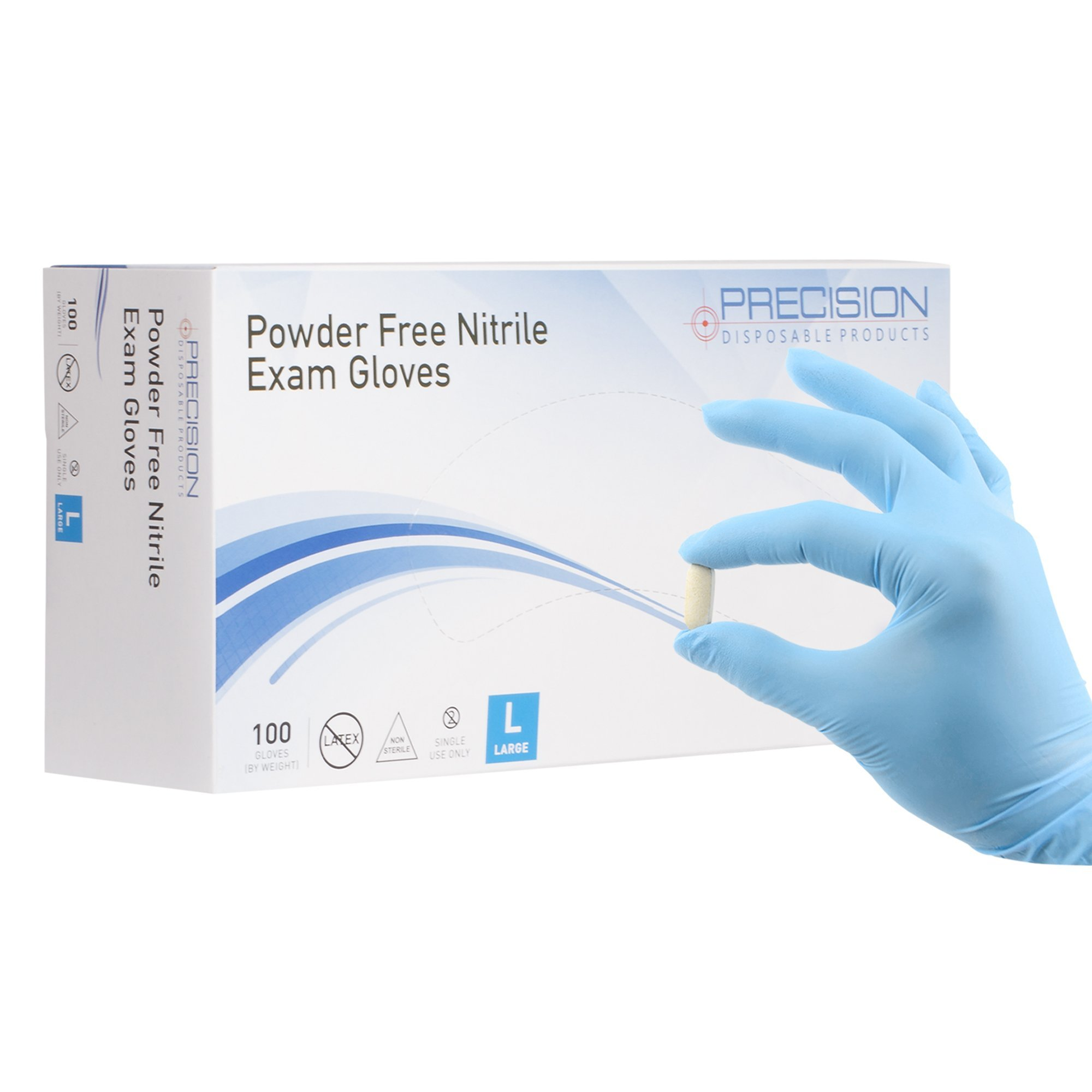 Nitrile Exam Gloves by Precision Disposables | Blue Large 4 mil Thickness, Powder-Free, Non-Latex, Fingertip-Textured, Medical Grade, Food Safe Examination Gloves (Pack of 100)