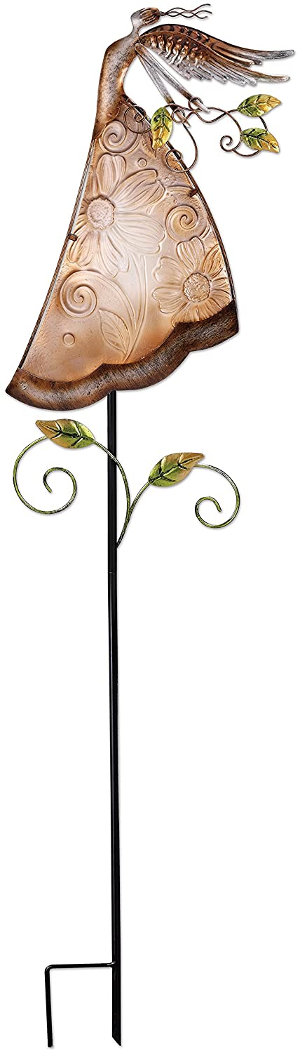 Sunset Vista Designs 14865 Angel Garden Stake, Taupe, Metal and Glass