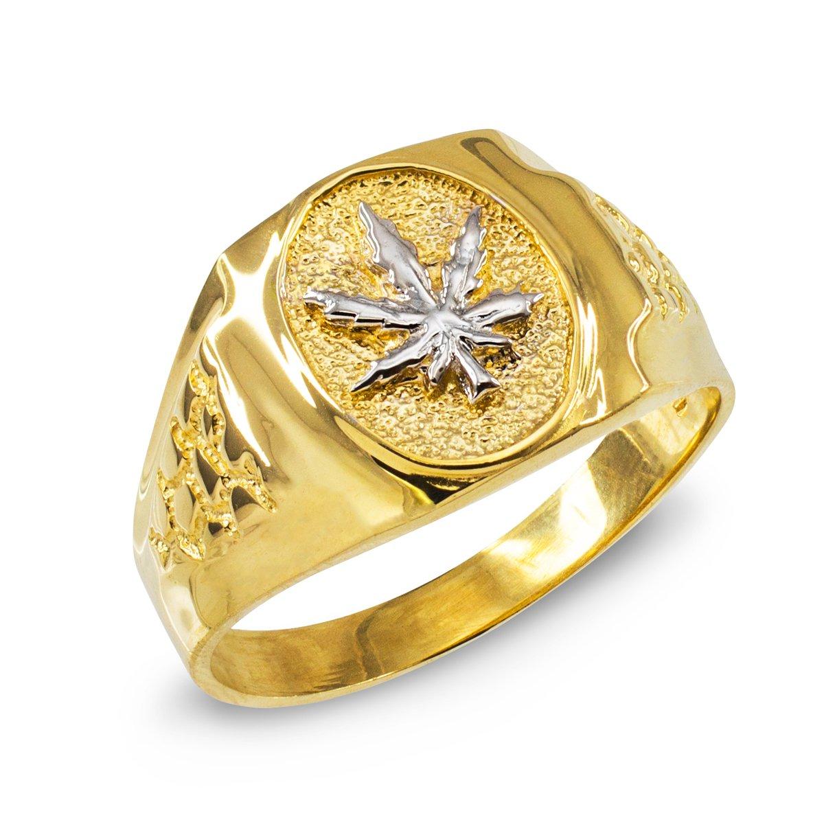 Men's High Polish 10k Yellow Gold 420 Pot Ganja Weed Cannabis Marijuana Leaf Ring (Size 9.25)