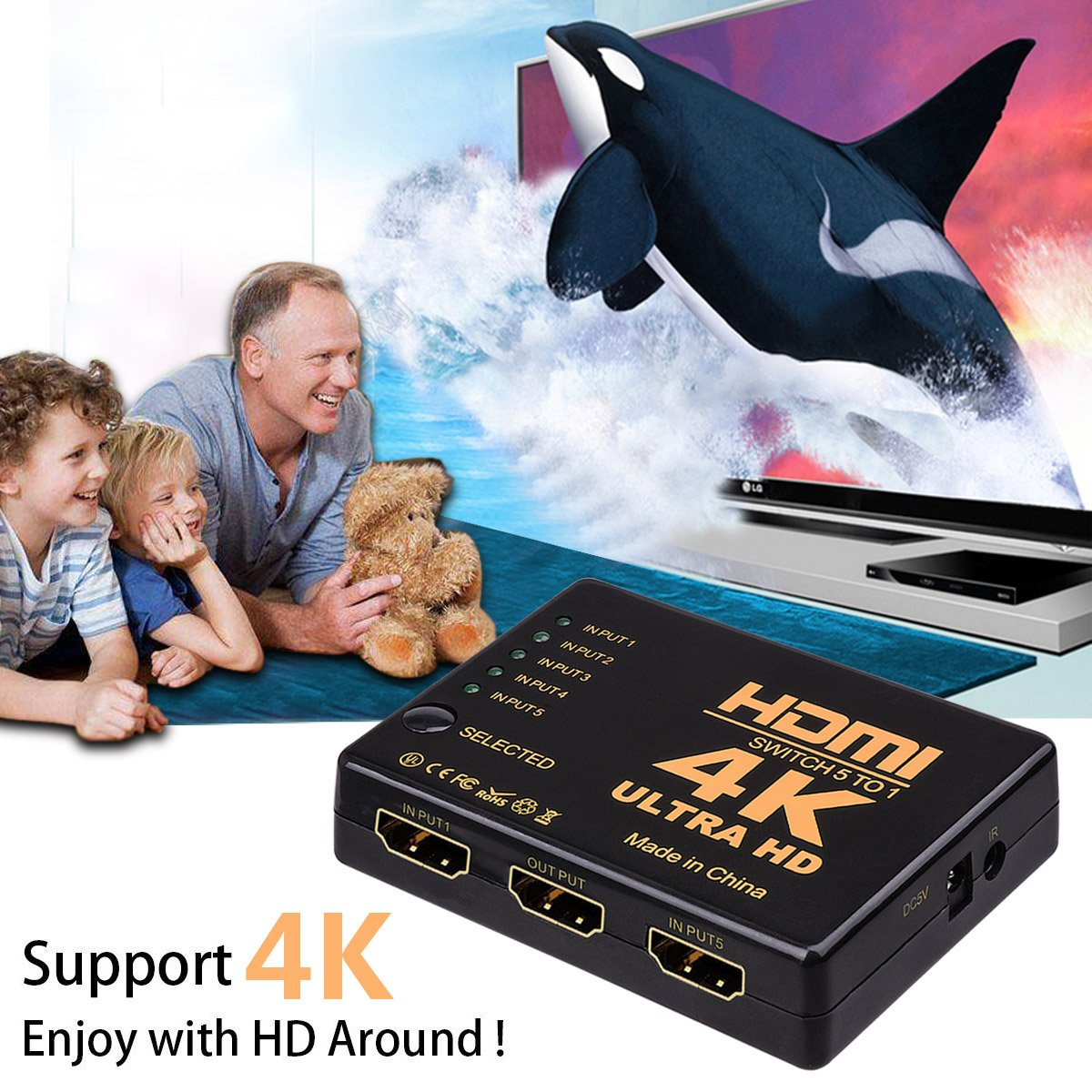 HDMI Switch Splitter,NXLFH Intelligent 5-Port HDMI Switcher, Supports 4K, Full HD1080p, 3D with IR Remote 1080P HD Audio for Nintendo Switch, Xbox One, Roku 3, Apple TV HD TV XBox PS3 PS4 5 in 1 out by NXLFH (Image #5)