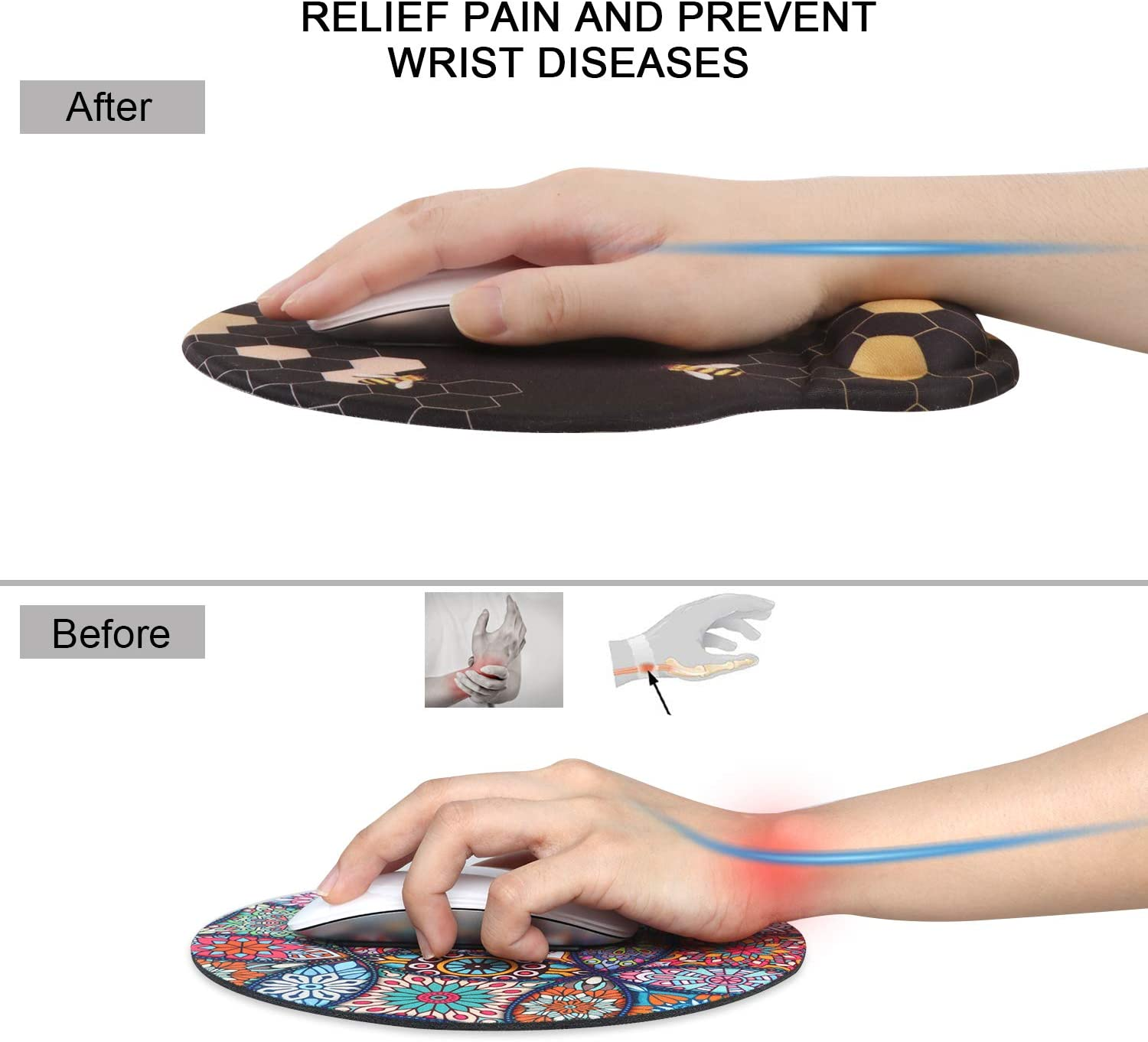Ergonomic Mousepad with Gel Wrist Rest Support Durable /& Comfortable Non-Slip Gaming Mouse Mat Wrist for Laptop Computer Home Office Easy Typing /& Pain Relief River Sand iCasso Mouse Pad