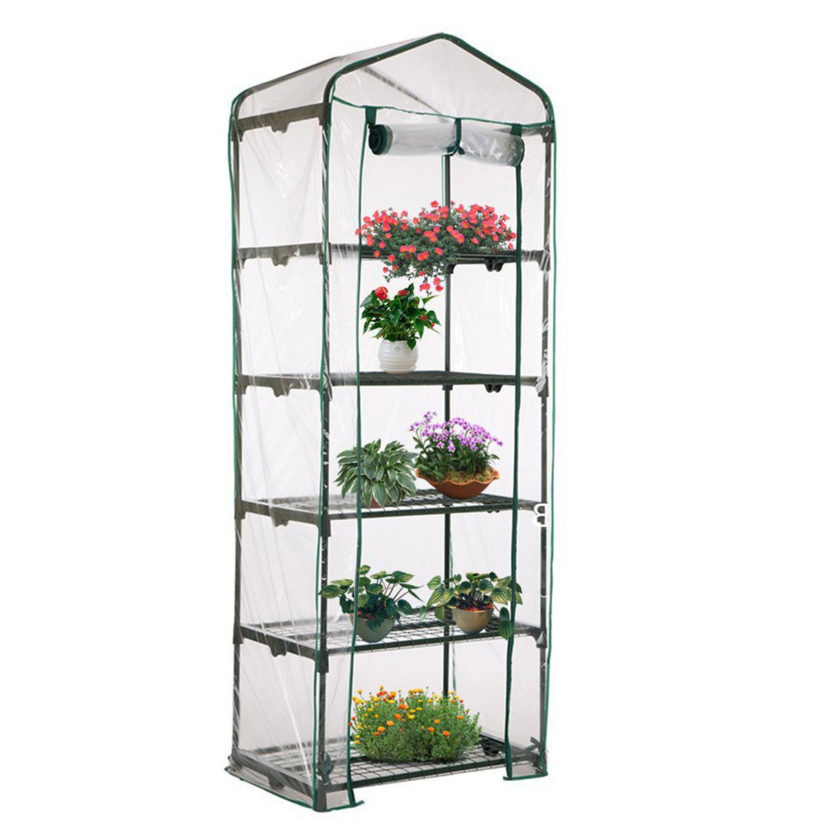 Kisstaker Greenhouse Cover, 69 x 49 x 187cm Apex Roof 5-Tiers Garden Greenhouse Hot Plant House Shelf Shed Clear PVC Cover