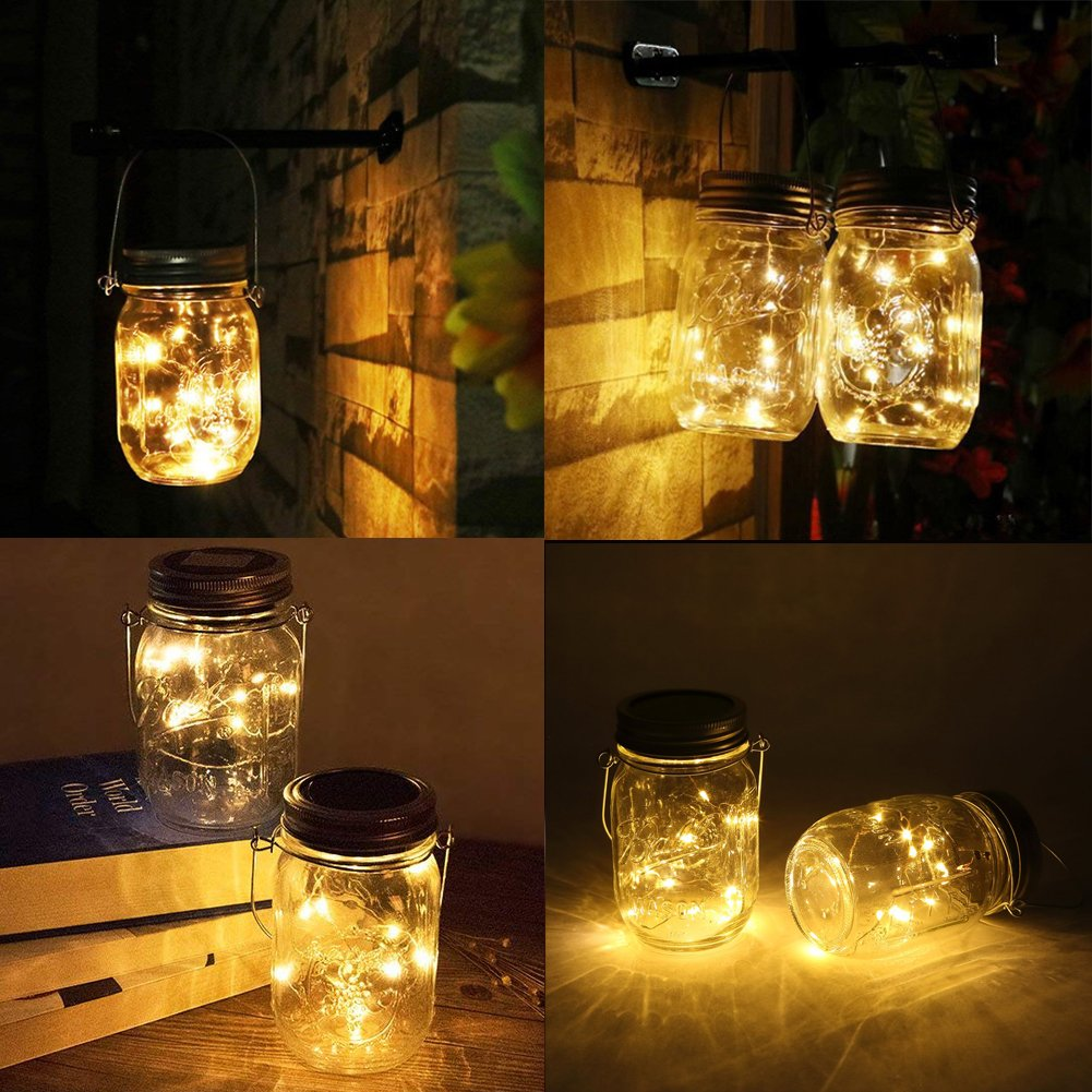 Solar Mason Jar Lights, Adecorty Outdoor Hanging Lights 2 Pack 20 LED String Fairy Star Firefly Jar Lights (Jars & Hangers Included) Warm White Waterproof Solar Lanterns for Garden Patio Outdoor Decor by Adecorty (Image #3)