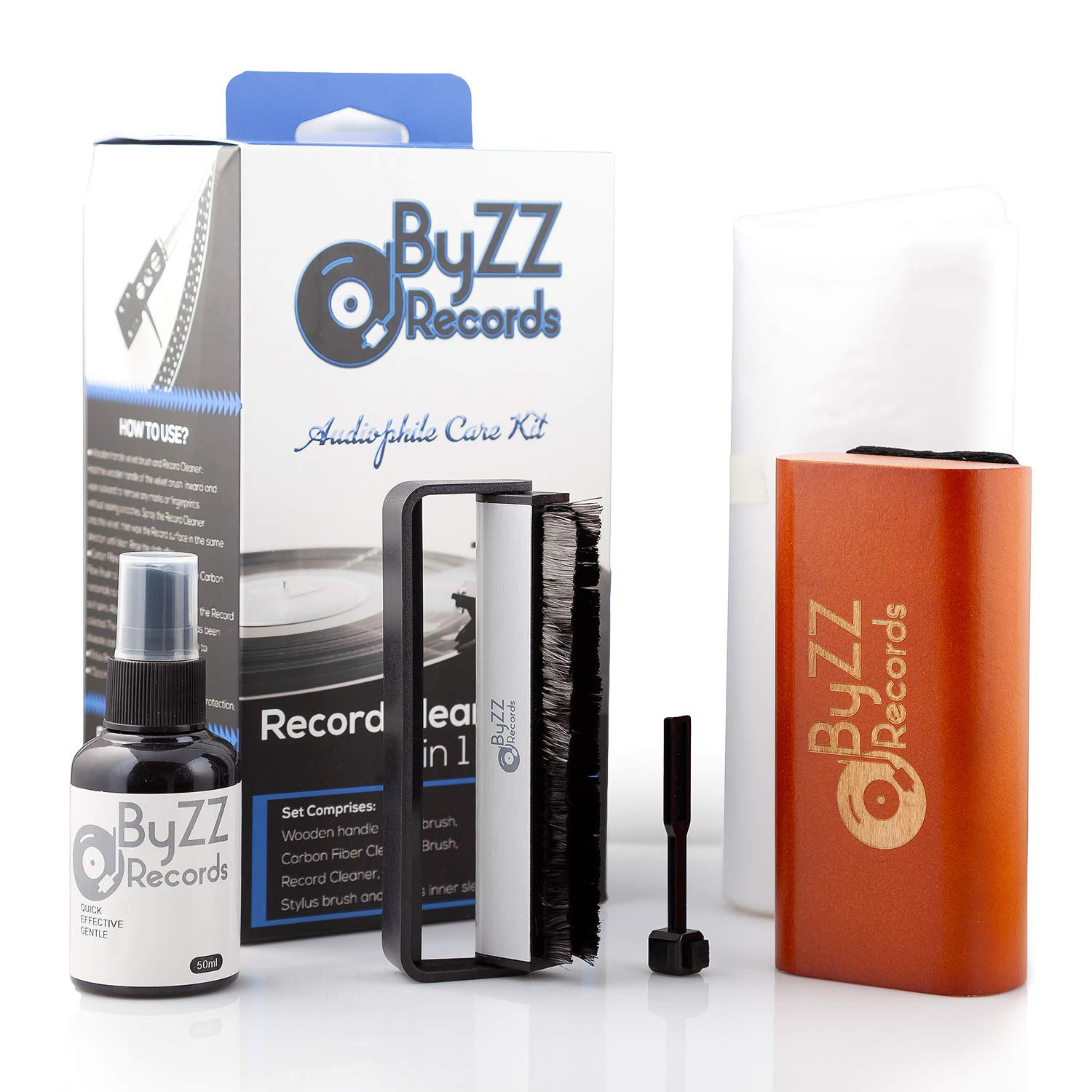Audiophile Record Cleaning Kit 5 in - 1| A Must-Have Set for Any LP Vinyl Enthusiast - Includes: Disc Cleaner Fluid, Discwasher Velvet Brush, Anti-Static Brush, Stylus Brush by Szuch Pro
