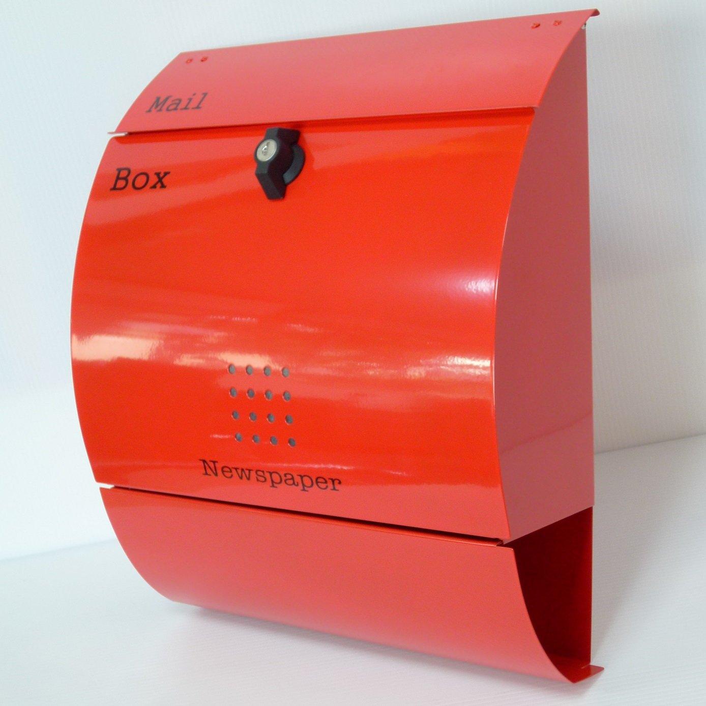 郵便ポスト郵便受け北欧風大型メールボックス 壁掛けプレミアムステンレス レッド赤色ポストpm034 B018NNWLT8 12880