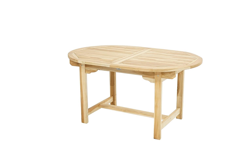 Ploß Ausziehtisch Louisiana Eco oval 150 cm bis 210 cm - Teakholz-Tisch mit SVLK-Zertifikat - Terrassentisch für 4 bis 8 Personen -  Garten-Esstisch Braun - Außenmöbel mit polierter Oberfläche