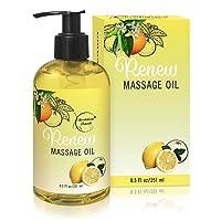 Renew Massage Oil with Orange, Lemon & Peppermint Essential Oils - Great for Massage...