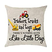 Tractors trucks and toys there's nothing quite like little boys Cotton Linen Throw pillow cover Cushion Case Holiday Decorative 18 X18  inch (1)