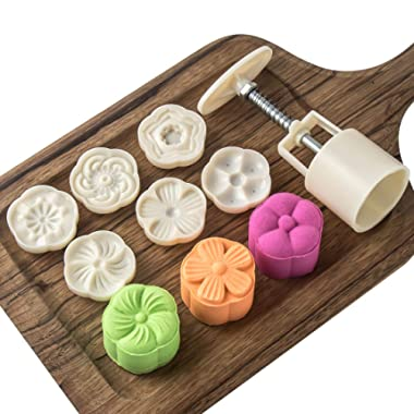Cookie Stamp Moon Cake Mold Stamps, Cookie Press Mid Autumn Festival DIY Decoration Press Cake Cutter Mold (50g 6pcs Stamps)