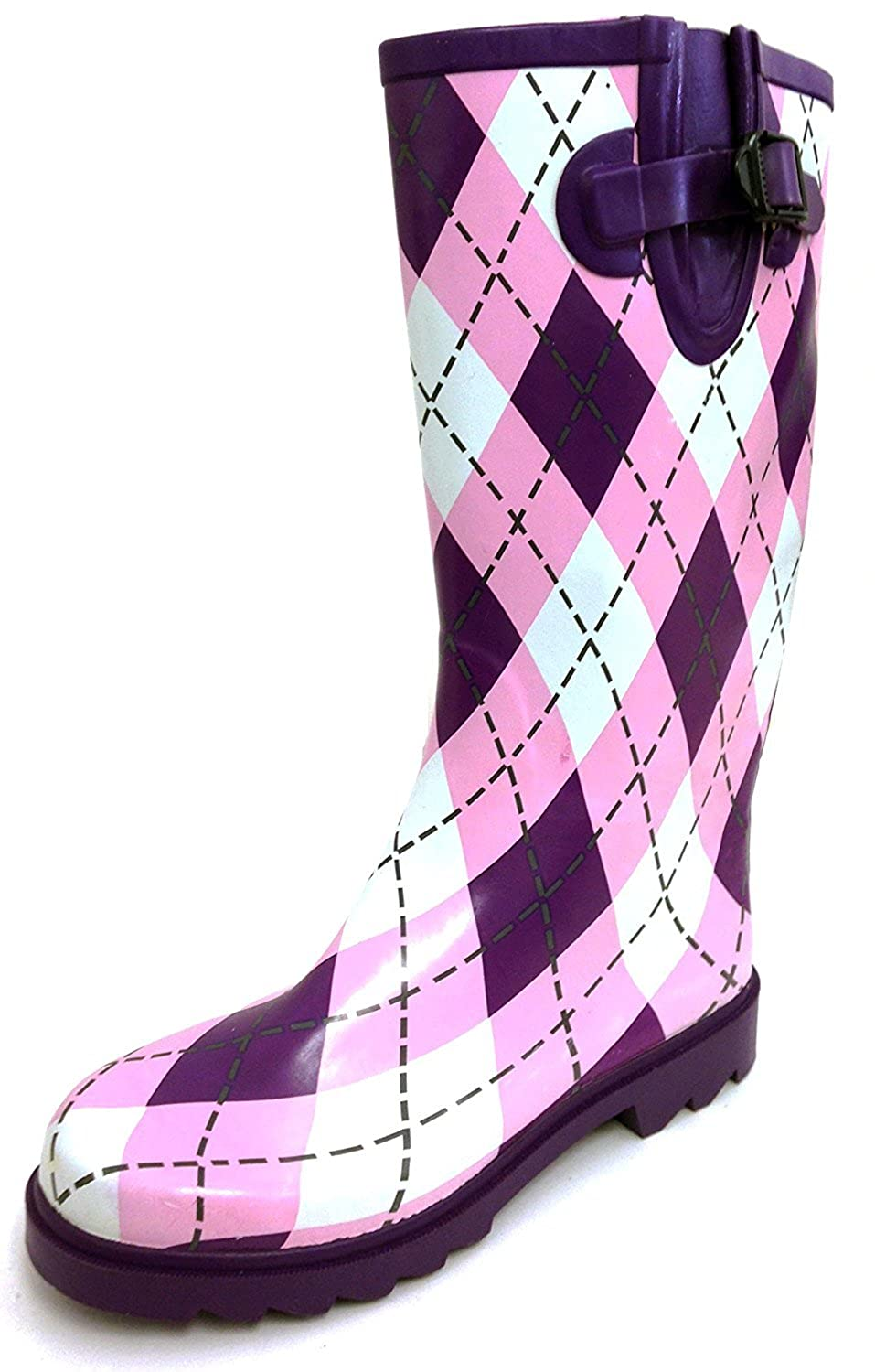 Purple & Pink Argyle Plaid G4U Women's Rain Boots Multiple Styles color Mid Calf Wellies Buckle Fashion Rubber Knee High Snow shoes