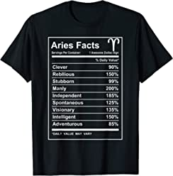 9617e32d Aries Facts - Funny Aries zodiac T-shirt Cool short sleeve
