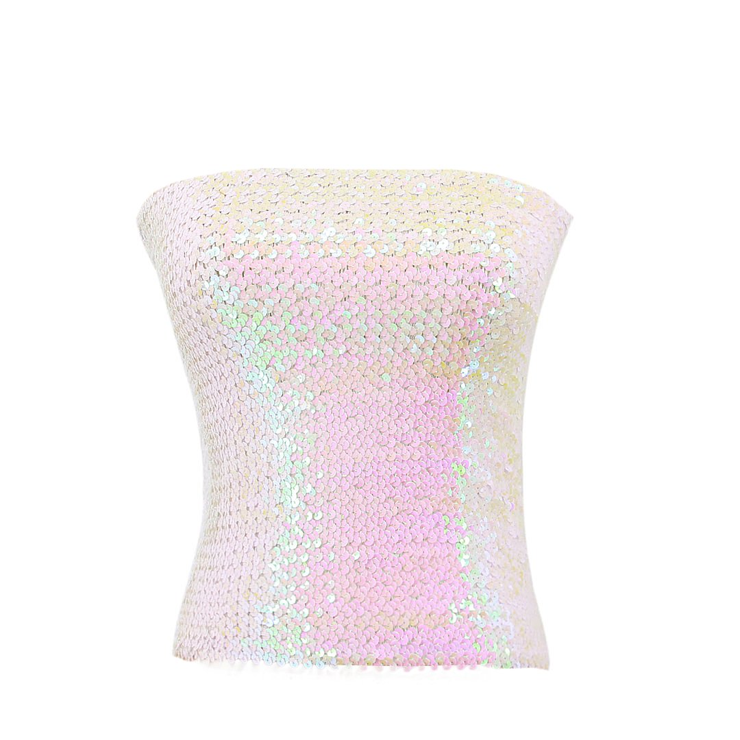 Novia's Choice Women Shiny Sequins Stretch Tube Top Clubwear Strapless Long Vest(White)