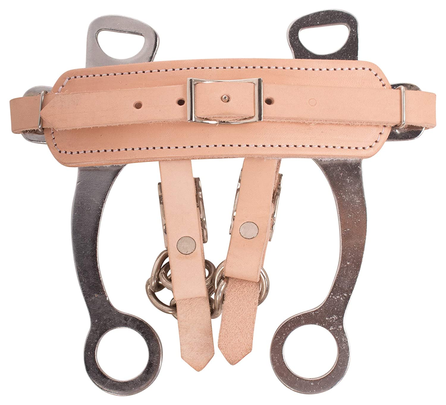 AceRugs Hackamore BRIDLES for Horses BITLESS BIT Chromed Steel Leather Padded Fleece Nose Band TACK with Curb Chain